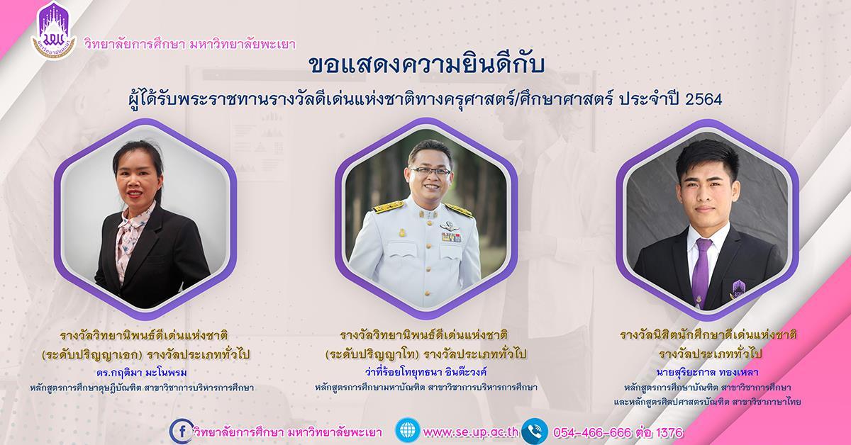 ขอแสดงความยินดีกับผู้ได้รับพระราชทานรางวัลดีเด่นแห่งชาติทางครุศาสตร์ศึกษาศาสตร์ ประจำปี 2564