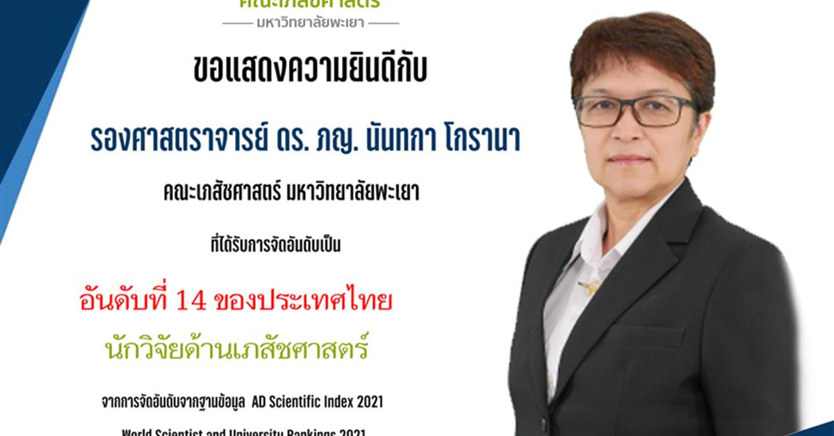 รศ. ดร. ภญ. นันทกา โกรานา อาจารย์ประจำสาขาวิชาบริบาลเภสัชกรรมที่ได้รับการจัดอันดับนักวิจัย AD Scientific Index 2021