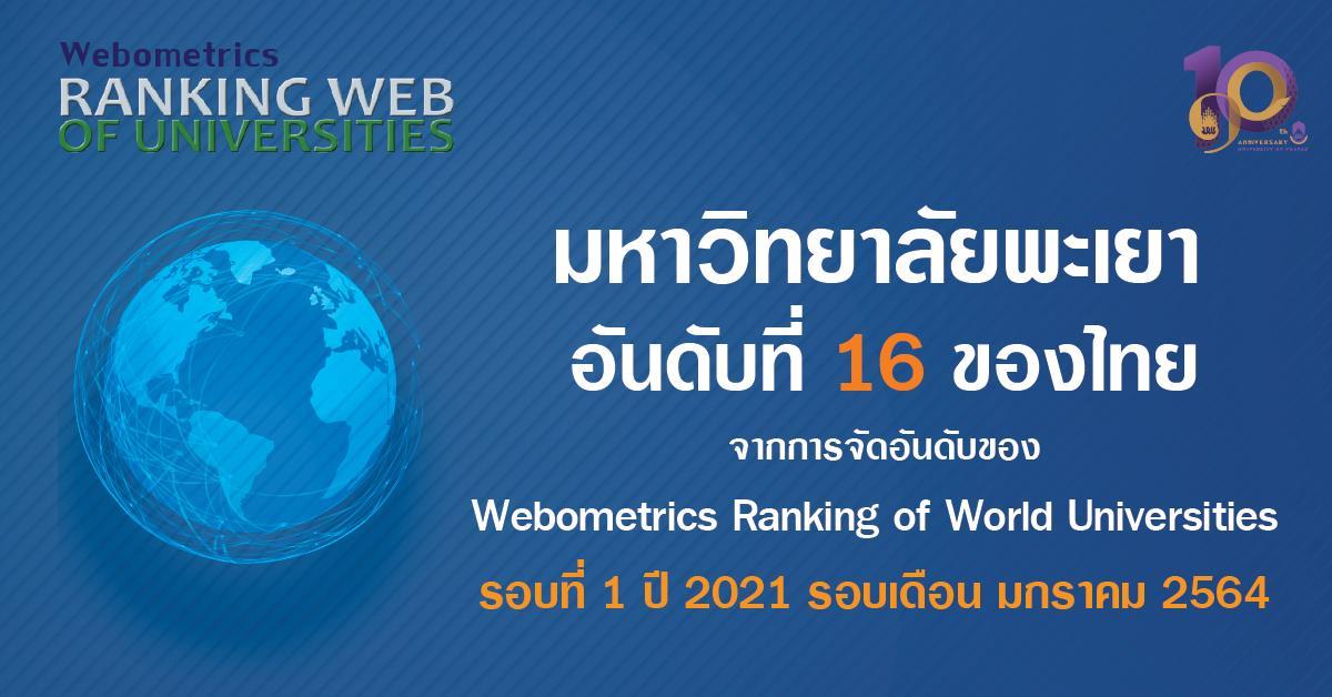 มหาวิทยาลัยพะเยาติดอันดับ เป็นมหาวิทยาลัยลำดับที่ 16 ของประเทศไทย จากการจัดอันดับ Webometrics Thailand 2021