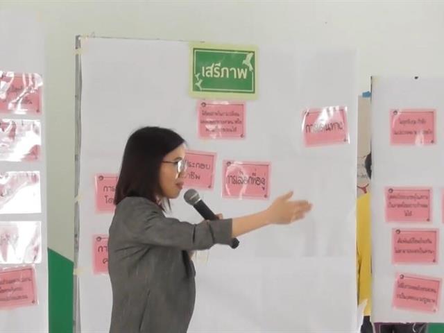 """อาจารย์ประจำคณะนิติศาสตร์ ร่วมเป็นวิทยากรกระบวนการและสังเกตการณ์ในการขยายผลของวิทยากรกระบวนการด้านสิทธิมนุษยชนภาคชุมชน ของพื้นที่อำเภอเมือง จังหวัดพะเยา ใน """"โครงการวิทยากรกระบวนการด้านสิทธิมนุษยชน: ขยายผลสู่ชุมชน/ท้องถิ่น"""""""