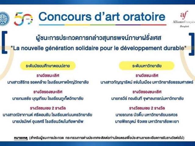 คณะศิลปศาสตร์ ขอแสดงความยินดีกับนิสิตสาขาวิชาภาษาฝรั่งเศส ชั้นปีที่ 3 ที่ได้รับรางวัลชมเชย การประกวดกล่าวสุนทรพจน์ภาษาฝรั่งเศส